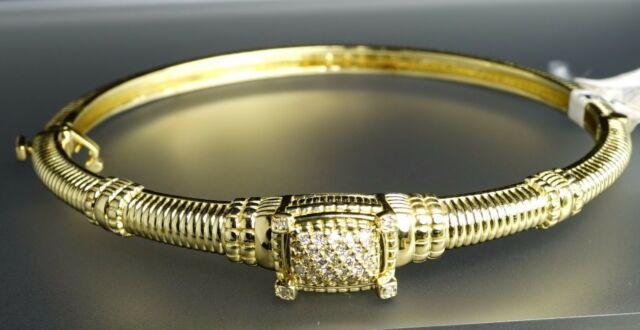 $5800 Judith Ripka 14K Yellow Gold Pave Diamond Bangle Bracelet Hinged NWT