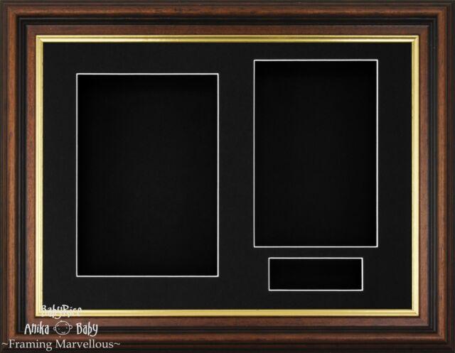 Neu Mahagonie Goldrand Holzern Tiefe Box Displayrahmen Foto-Andenken Medaillen