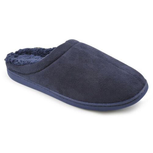 Mens Flat Fur Lined Memory Foam Gift Mules Slippers House Shoes  FT1036