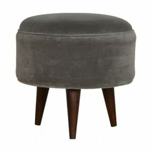 Admirable Details About Grey Velvet Round Ottoman Footstool Caraccident5 Cool Chair Designs And Ideas Caraccident5Info