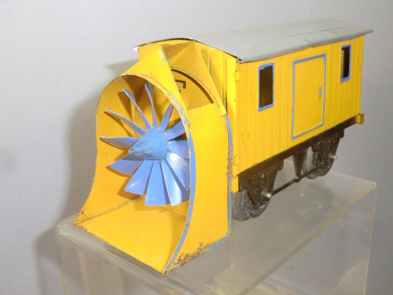 VINTAGE HORNBY '0' GAUGE MODEL No.1 ROTARY SNOW PLOUGH     giallo VERSION