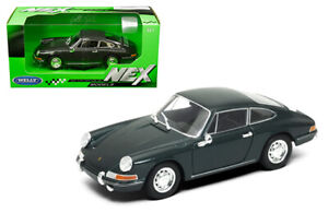 Welly-1-24-1964-Oscuro-Gris-Modelo-Diecast-Porsche-911-Deportes-Coche-de-Carreras-24087GRY