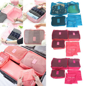 Image Is Loading 6pcs Waterproof Clothes Storage Travel Luggage Organizer Bags