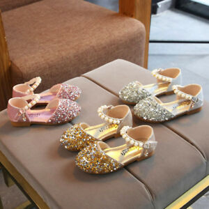 Toddler-Child-Kids-Baby-Girl-Pearl-Bling-Sequins-Single-Princess-Shoes-Sandals-P