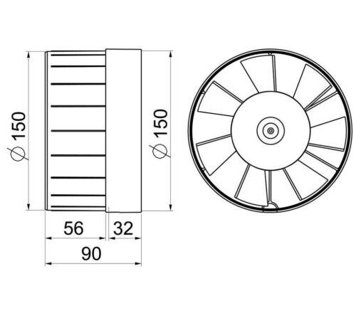 """InLine Extracteur Ventilateur 150 Mm//6/"""" Hydroponique Conduit Tube Tuyau respirateur WKA150"""