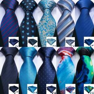 USA-Men-039-s-Navy-Blue-Tie-Hanky-Necktie-with-Cufflinks-and-Pocket-Square-Tie-Set