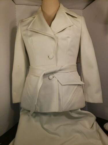 1960s MOD Lilli Ann Knit Skirt Suit White Belted