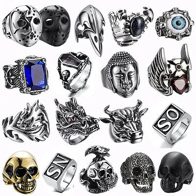 626a19f996e 316L Stainless steel steam men punk ring skull cool gothic rings Men s  Jewelry U