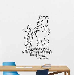 Image is loading Winnie-the-Pooh-Quote-Wall-Decal-Disney-Vinyl-  sc 1 st  eBay & Winnie the Pooh Quote Wall Decal Disney Vinyl Sticker Nursery Poster ...