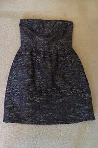 0f1a9a6b8f New Women s Gap Tube Top Party Dress Sleeveless Black Silver ...