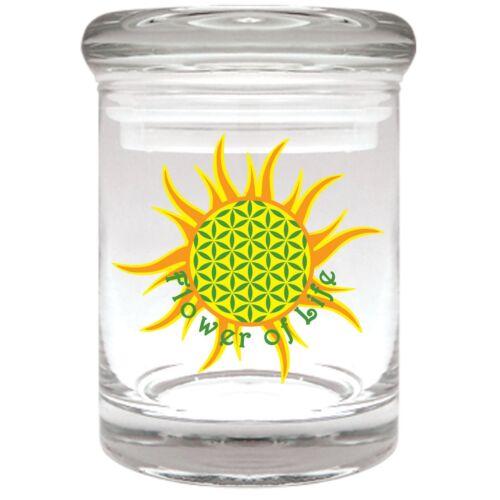 FLOWER OF LIFE Airtight Smell Proof Spice Herb Storage GLASS STASH JAR 1//8 oz