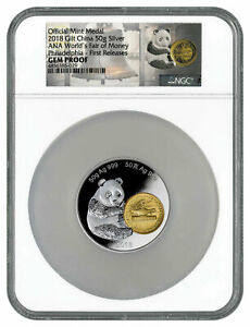 2018-Phil-ANA-Money-Fair-Panda-50-g-Gilt-Silver-Medal-NGC-GEM-Proof-FR-SKU54565