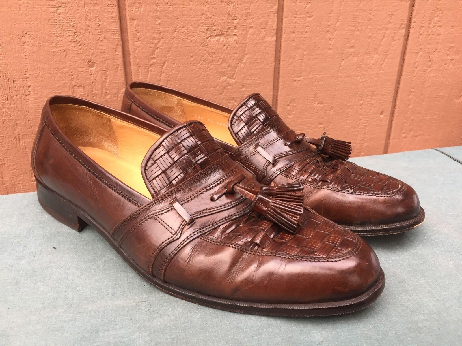 Scarpe casual da uomo EUC Johnston Murphy Cellini Woven Brown Leather Tassel Loafer Hand Made US 12 M