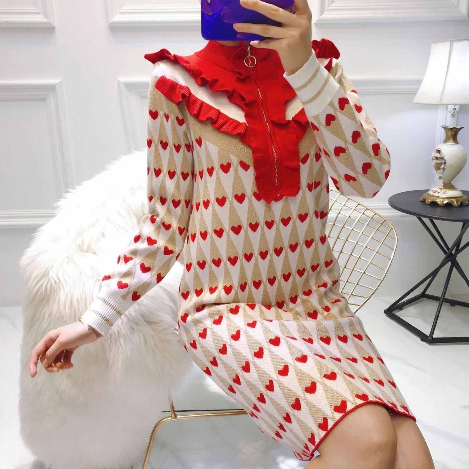 Multi Farbe Zipper Half High Collar Ruffles Sweater Kleid Heart Glitter Knit