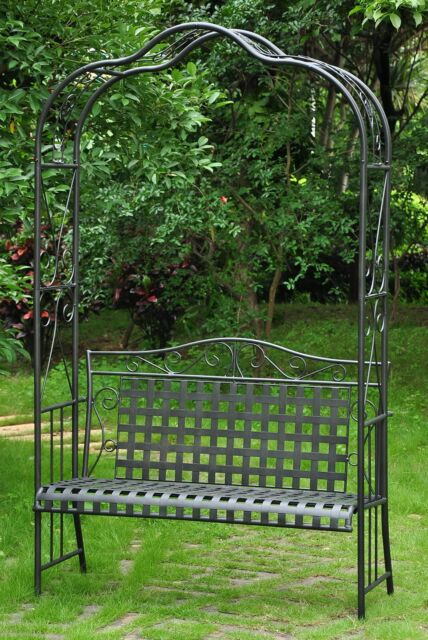 Peachy Garden Wrought Iron Arch Arbor With Loveseat Bench Wedding Decor Plants Black Squirreltailoven Fun Painted Chair Ideas Images Squirreltailovenorg