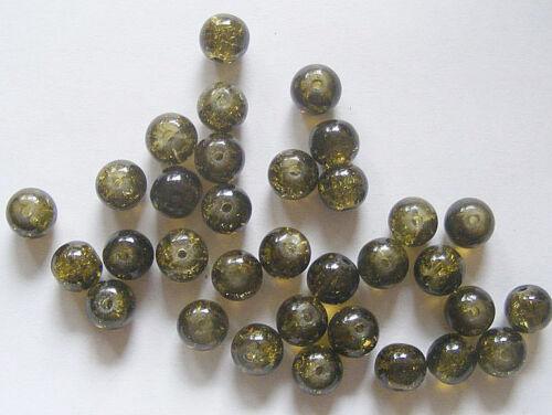 50 Crackle Perles De Verre 8 mm-Olive Foncé