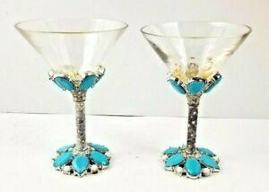 Details About 2 Saints Crystal Jeweled Enameled Stem Martini Gl Turquoise Set Of Rare