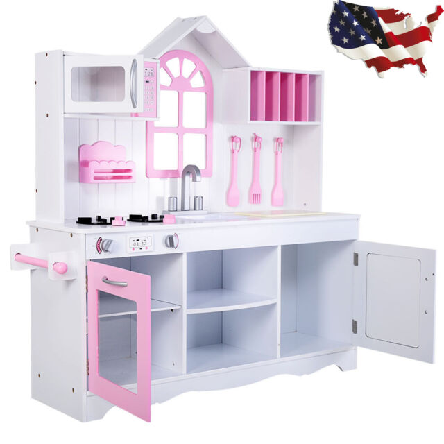 Kids Kitchen Play Set Wooden Pretend Cooking Toy Children Playset Toddler  White