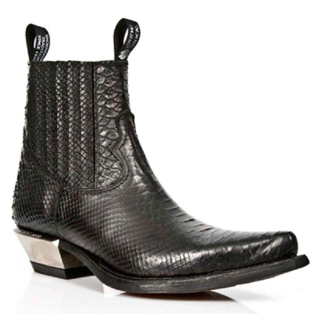 NEW Rock Nero Pelle Di Serpente Con Motivo Nero Alla Caviglia Stivali Da Cowboy