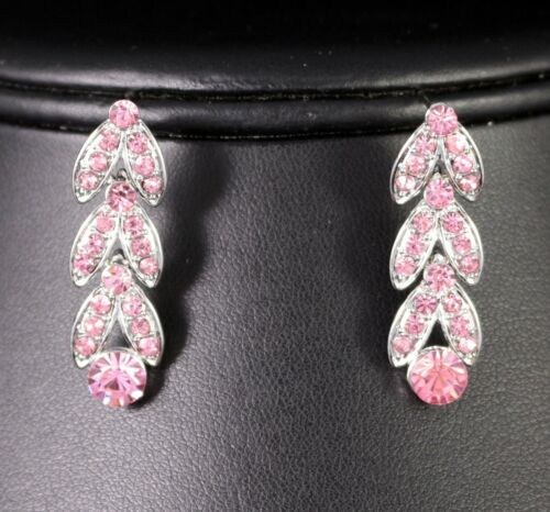 Floral Pink Austrian Rhinestone Crystal Necklace Earrings Set Bridal Prom N20p