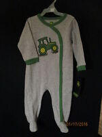 John Deere Gray & Green Footie W/ Lg Tractor On Front Take Me Home Boys