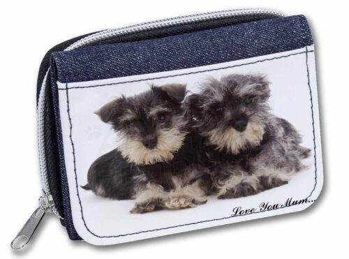 Miniature Schnauzer /'Love You Mum/' Girls//Ladies Denim Purse Wallet AD-S75lymJW