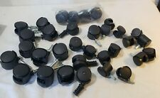 Replacement Caster Swivel Cart Wheels Lot Of 33 Plastic Black New Amp Used