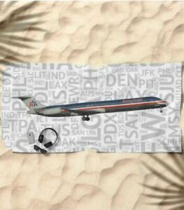 American-Airlines-McDonnell-Douglas-MD-80-with-Airport-Codes-Beach-Towel