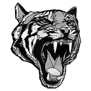 """VEGASBEE® LARGE TIGER HEAD TATTOO BLACK-WHITE EMBROIDERED IRON-ON PATCH 12"""""""