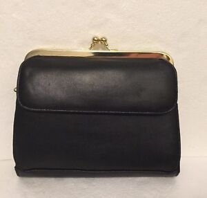 NWOT-Vintage-Clutch-Purse-Small-Black-with-Gold