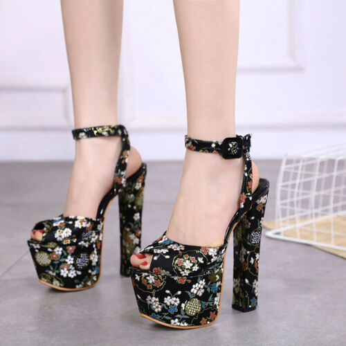 Nightclub Women/'s Sandals High Block Heels Platform Peep Toe Slingbacks Shoes