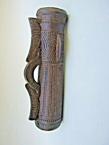 Old  Small Papua New Guinea Carved Drum Lizard Skin Collectables Decor PNG