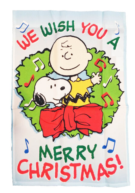 Snoopy Merry Christmas Images.Peanuts Snoopy And Charlie Brown We Wish You A Merry Christmas Flag 12 X 18
