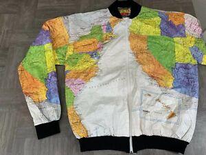 Details about Vintage Wearin' The World Map Jacket Windbreaker Kurt Cobain  - Adult Size L