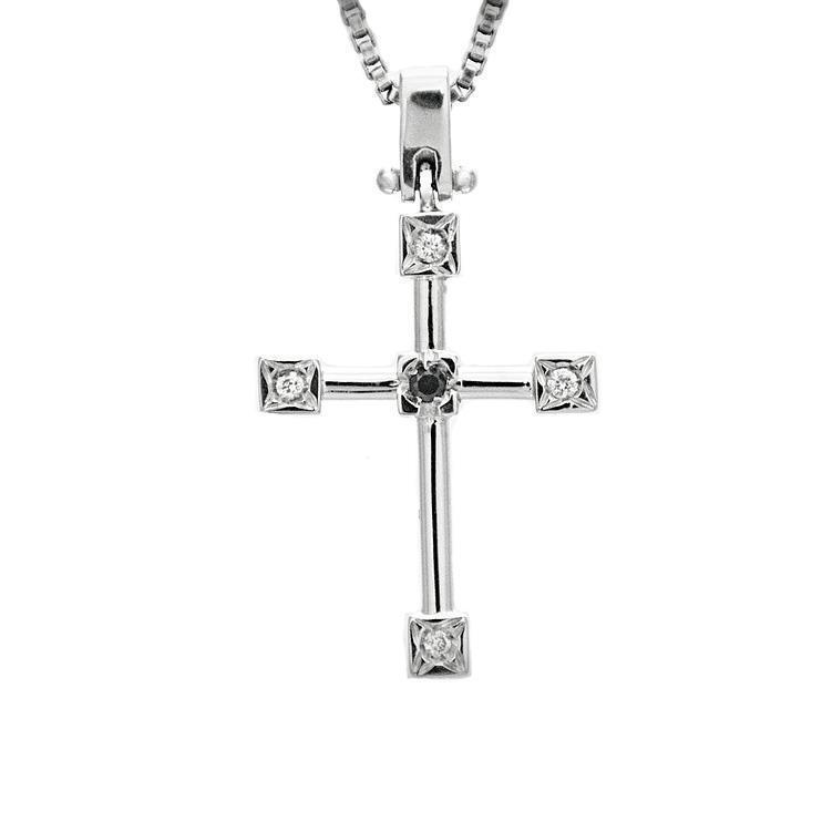 Collier in oro bianco con croce con con con diamanti naturali ct 0 03 c46fe5