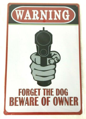 WARNING BEWARE DOG OWNER METAL TIN NOVELTY NUMBER LICENSE PLATE WALL SIGN GIFT