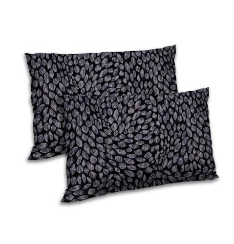 "Petite Feuille Imprimé Pillow Cover Satin Noir rectangularthrow Cushion Case 12/""x18"