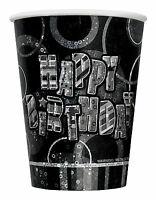 18th Black Glitz Birhtday Party Supplies Decorations Tableware 18 items Free P+P