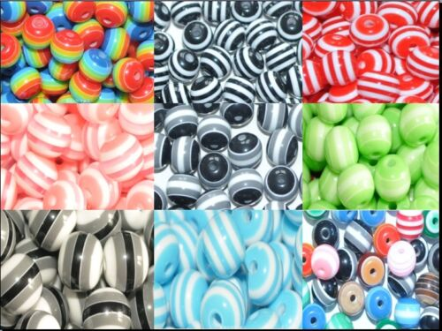 30pcs solid colours round striped resin beads  8mm