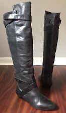Pour La Victoire Dahlia Black Leather Over the Knee Boots Women's Size 9.5