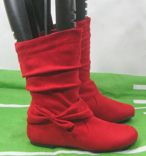 New Flat Round Toe zip up  Cute Red Side Bow Ankle Boots Kid Size 1