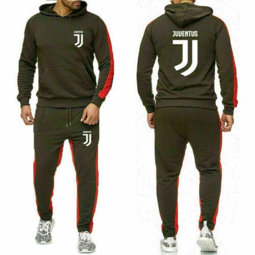 Juventus Mens Tracksuits Set Hoodie Pullover Pants Sportswear Football Suit Gym
