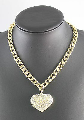 Hot Sale Gold Plated Full Rhinestone Heart Fashion Chain Necklace Jewelry