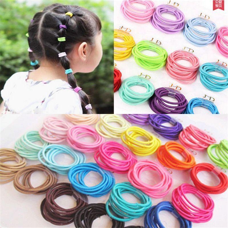 100x Baby Mädchen Elastisches Seil Mode Haargummis Pferdeschwanz Halter Fast