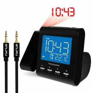 Magnasonic-EAAC601-Projection-Clock-Radio-amp-Bonus-3-5mm-Aux-Stereo-Cable
