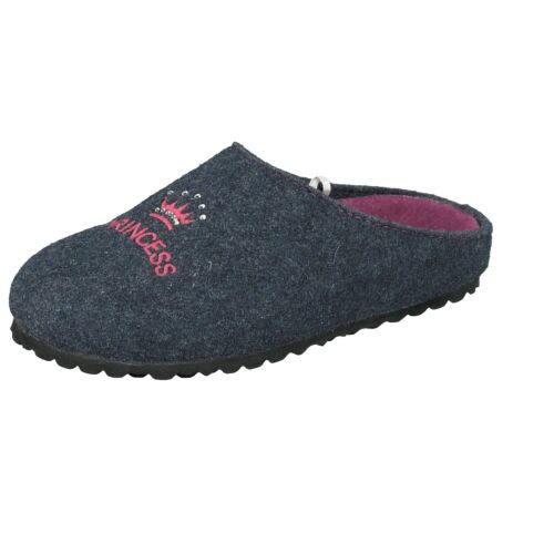 Supersoft Mädchen Schuhe 542-183 Pantoffeln Hausschuhe glitzer Princess Navy
