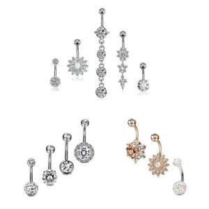 Zircon-Flower-Pendant-Navel-Belly-Button-Ring-Bar-Body-Piercing-Jewelry-Set-Gift