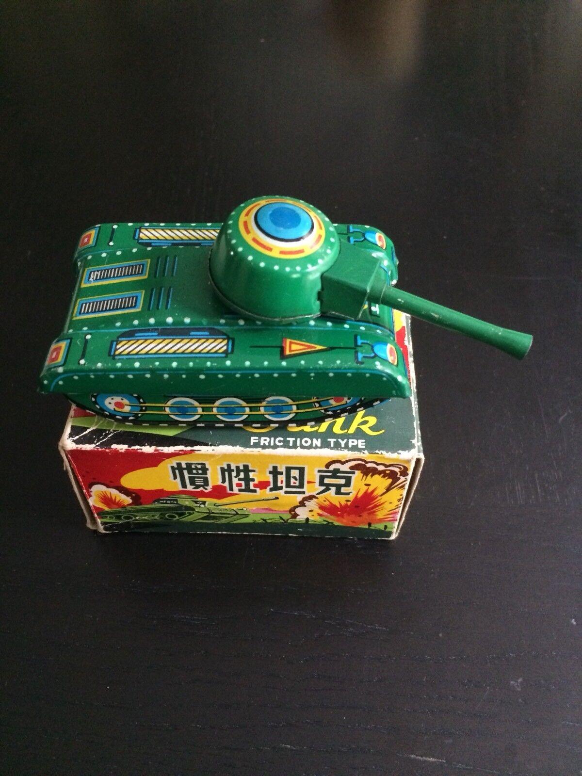 Vintage Original Green Tinplate Toy Tank War WW2