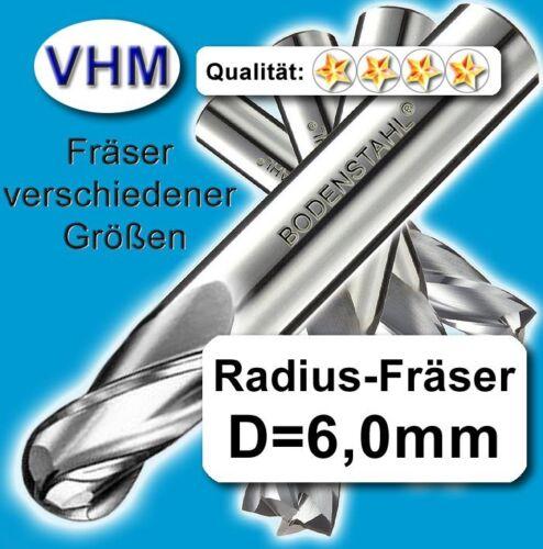 TiAlN VHM Vollhartmetall Fräser Radius R3=D6mm für Stahl und Guss