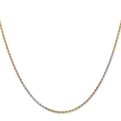 """14k Tri-Color Gold 1.50mm Diamond-Cut Rope Chain Necklace 7/"""" 24/"""""""